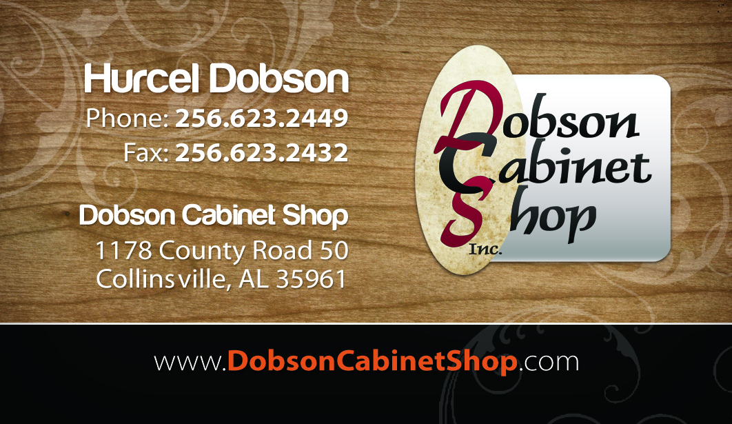 Front of Dobson Cabinets' business card