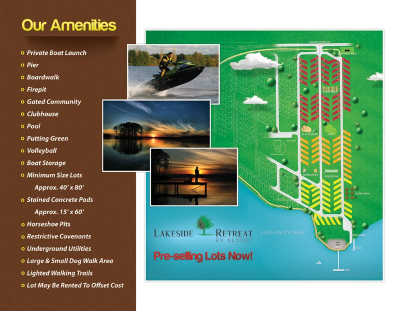 Inside of RV Resort's brochure